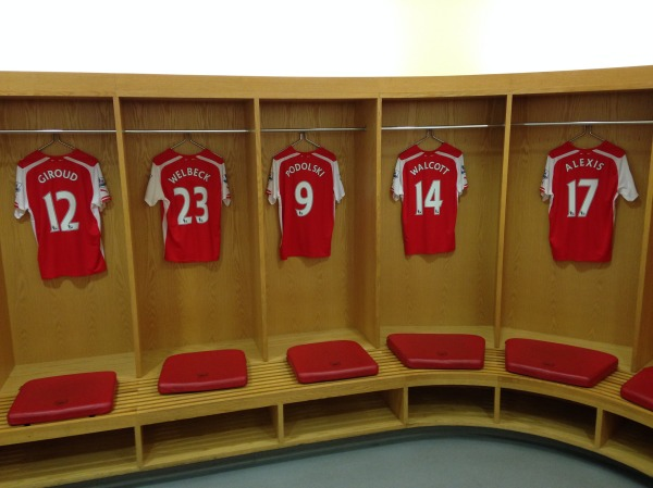 Welbeck's shirt hangs in Arsenal's Changing Room